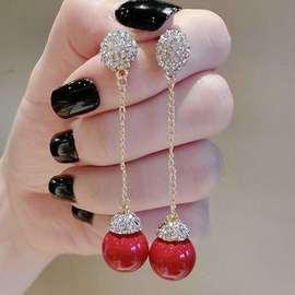 正品流行红色珍珠耳坠耳环流苏韩国满钻长链贝壳耳饰耳环女