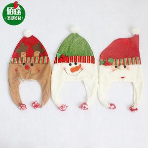 圣诞节装饰品 老人雪人驯鹿卡通高档圣诞帽子  立体圣诞帽6月上新