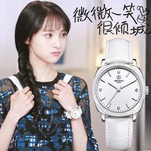 冲冠手表时尚韩版简约超薄方形石英女表带国产腕表塑料镜面真皮