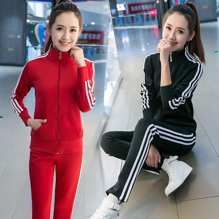 2019秋季新款时尚韩版运动套装女学生长袖开衫休闲跑步两件套装潮热销30件限时抢购