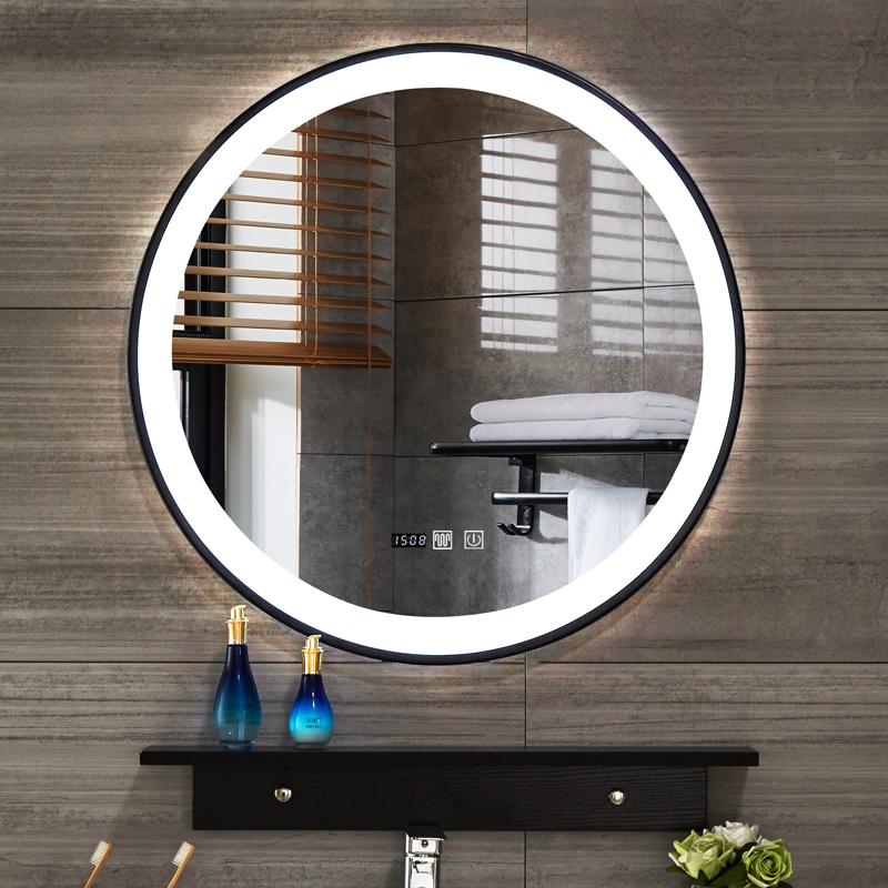 北欧铁艺框LED发光灯镜洗手盆壁挂圆镜卫浴智能镜卫生间浴室镜子图片