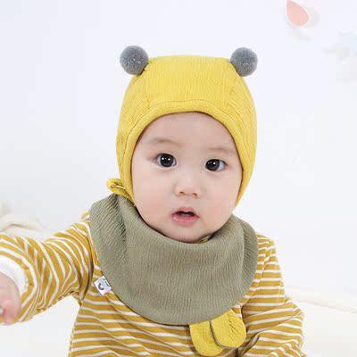 韩国新品婴儿帽子秋冬纯棉帽护耳保暖套头帽男女宝宝0-12-24个月