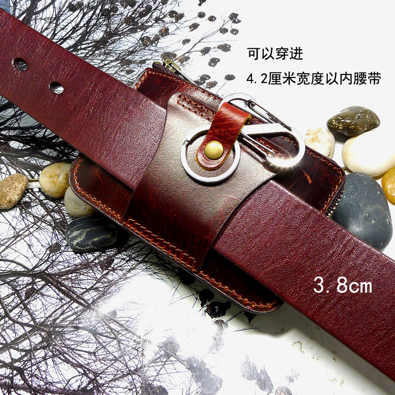 Zipper multi-function small waist bag leather leather leather hanging belt driving license leather case car key card bag llhd