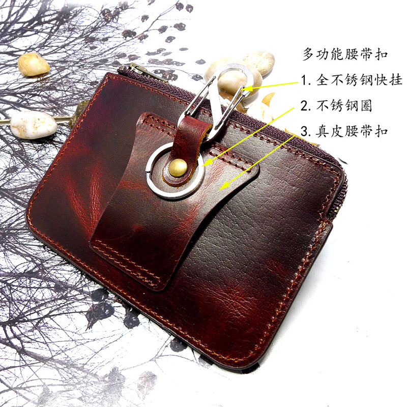 Zipper ultra thin invisible small waist bag leather leather leather leather mens wear belt bag driving license leather case card bag LHD