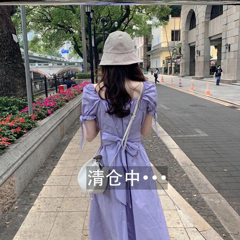 2020新款方领裙子女夏法式中长款桔梗初恋森系复古显瘦紫色连衣裙