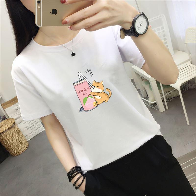 短袖t恤女夏装2020新款韩版宽松百搭学生大码半袖上衣女士体恤衫