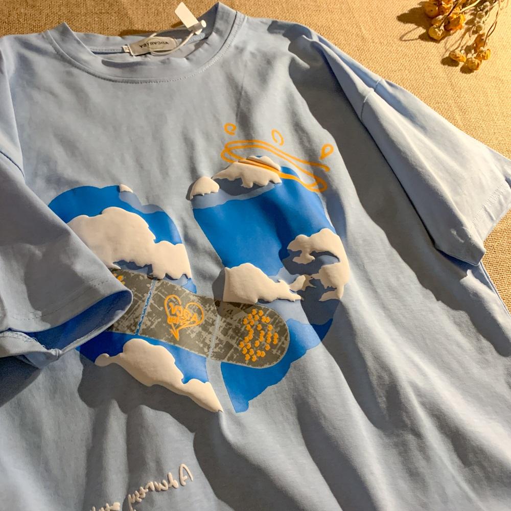 PeterWoo拯救地球韩版宽松气泡工艺短袖T恤街头青春百搭情侣上衣