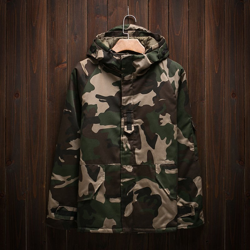 Winter 2019 cotton padded mens thickened hooded lovers camouflage jacket cotton padded jacket loose cotton padded jacket medium long coat trend