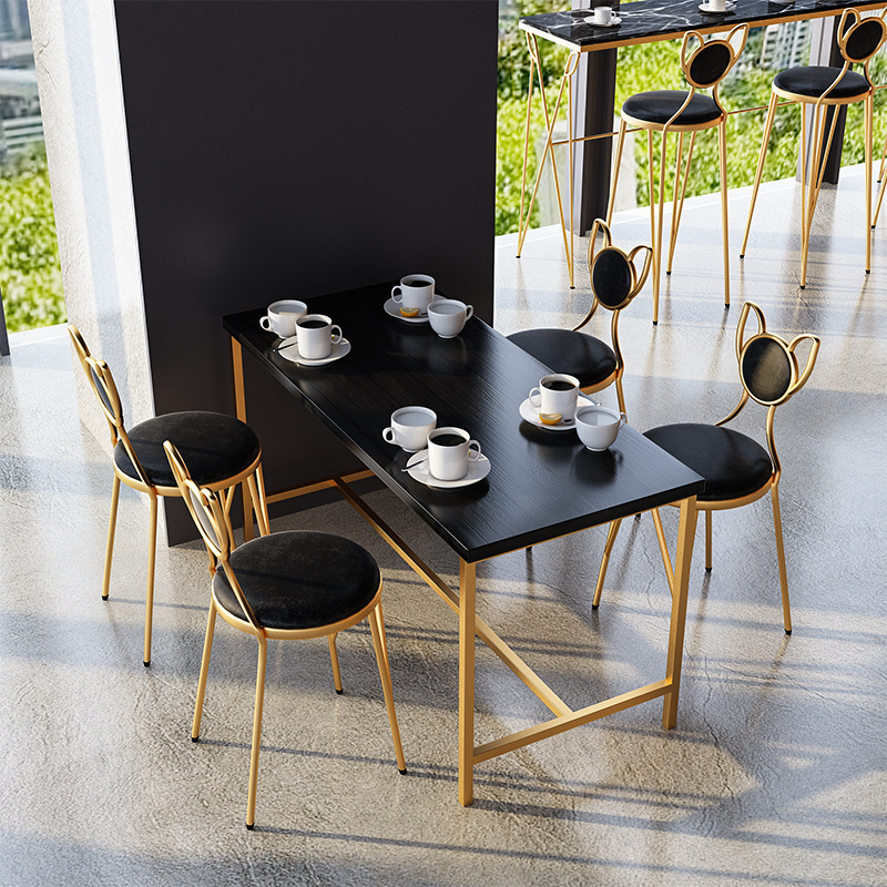 北欧大理石餐桌椅组合现代简约网红西餐厅咖啡店甜品店奶茶店桌椅(用0.26999999999998元券)