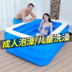 加厚大人洗澡盆超大号家用双人充气浴缸折叠塑料全身可坐躺泡澡桶
