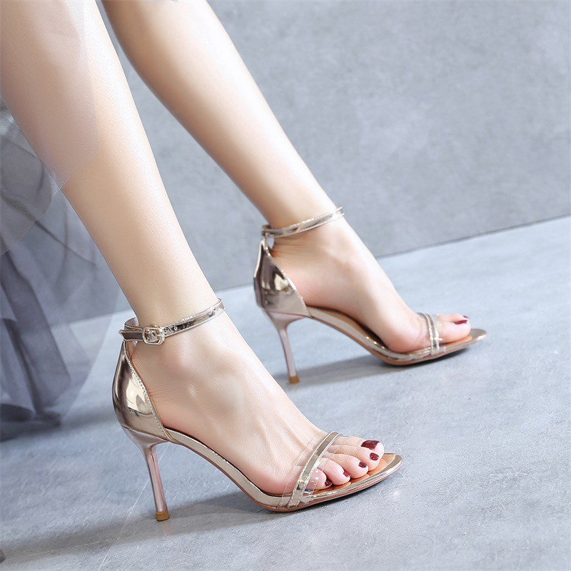 High heeled lady summer 2020 new Korean one word with open toe middle heel fashion sandals fairy style silver fine