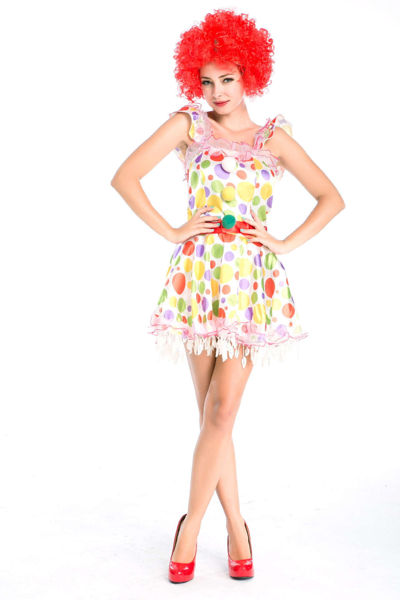 Cartoon suit with wig circus clown Cosplay dress Denis cosplay costume Halloween Costume