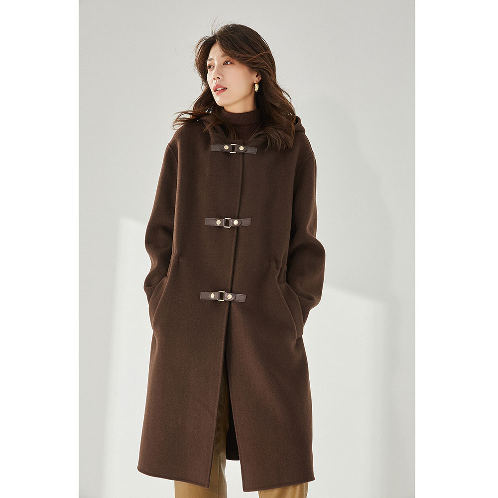 21 winter loose casual style fashion European and American hooded fur buttoned tweed coat female 13271 tweed coat solid color