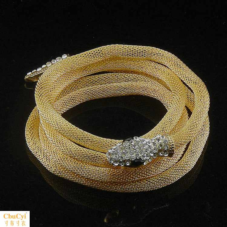 Diamond head and tail punk gold metal mesh hollow free deformation snake chain bracelet mens and womens bracelet necklace jewelry