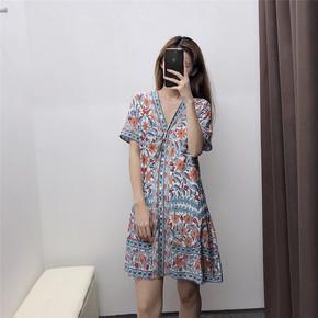 WMXZ 2019夏季新款 欧美风时尚百搭修身显瘦花朵印花连衣裙