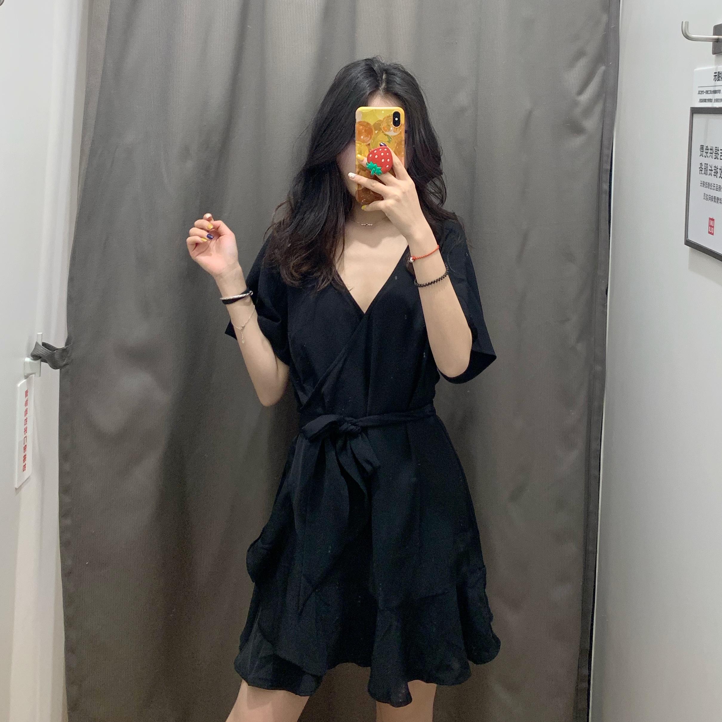 WMXZ 2019夏季新品大气纯色系带V领短袖花边连衣裙 短款裙子女