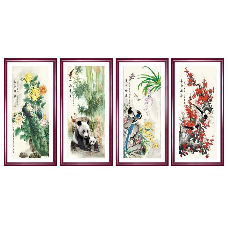 中式装饰画梅兰竹菊挂画沙发背景墙客厅画餐厅壁画四联水墨画国画