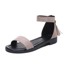 凉鞋女2020夏季新款仙女风一字带平跟网红百搭学生韩版女鞋平底鞋