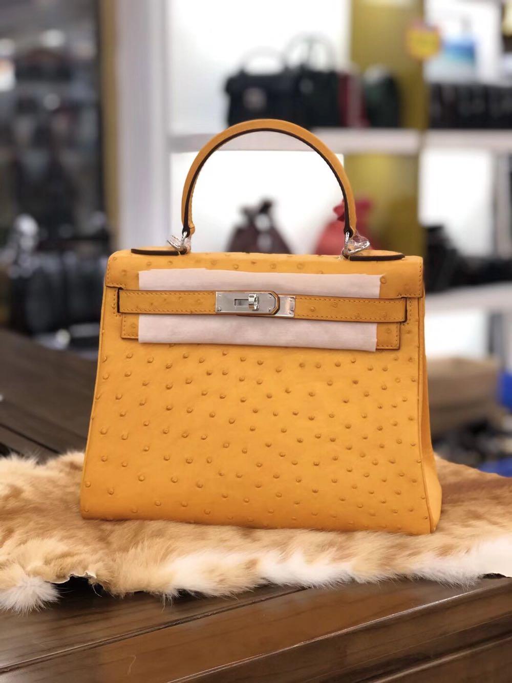 Kelly ostrich leather womens Handbag Shoulder Bag South Africa ostrich leather top layer leather inside stainless steel hardware