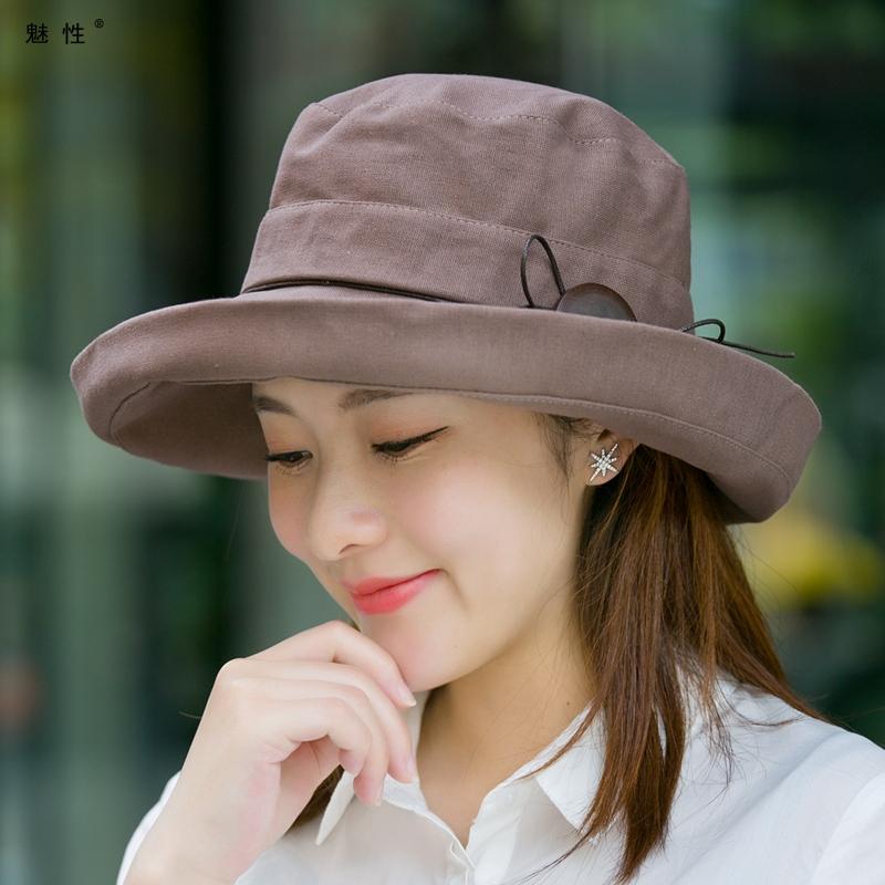 魅性渔夫帽子女夏天韩版百搭风阳帽太阳帽紫外线大沿风晒可折叠