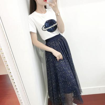 2019新款流行裙子小众重工亮片过膝长裙超仙的气质网纱连衣裙潮