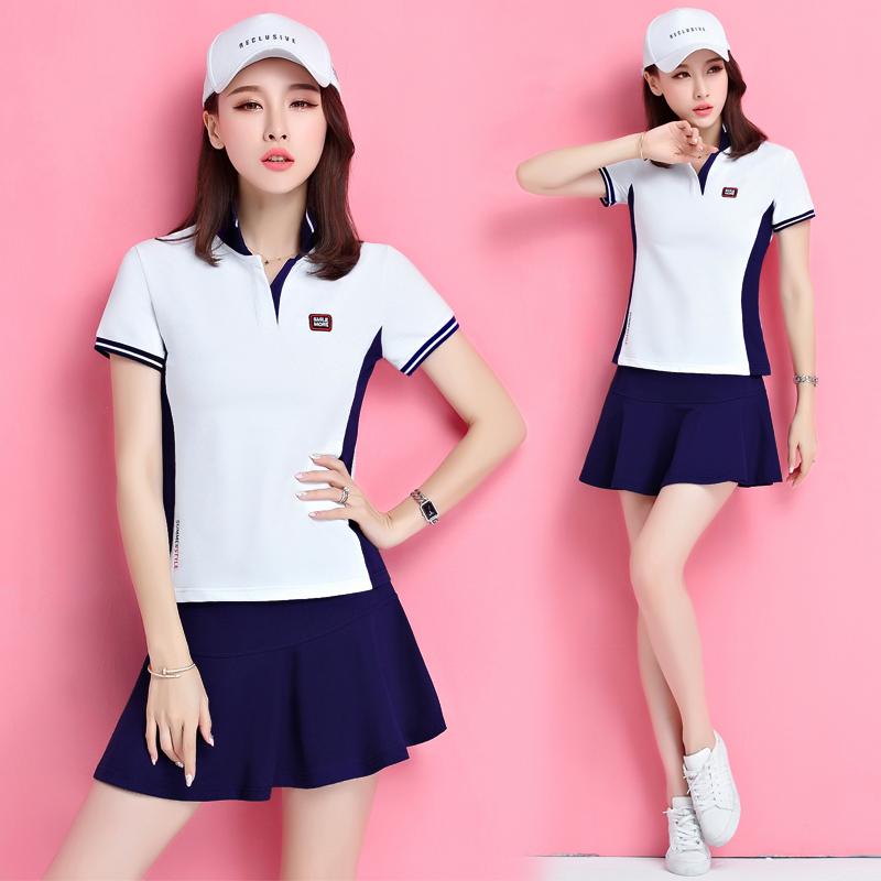 新款羽毛球服套装女网球服夏季短袖防走光裤裙休闲运动套裙女团体