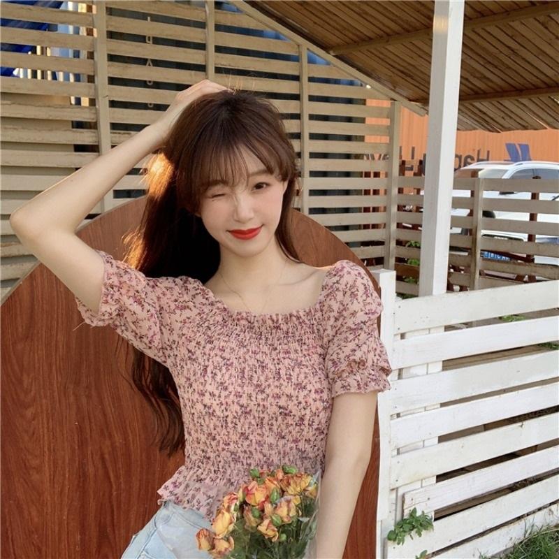 2020夏季新款韩版百搭小碎花短款高腰修身上衣女短袖锁骨雪纺衬衫