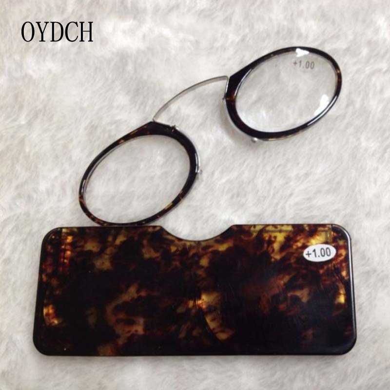New legless reading glasses wallet glasses for the elderly portable presbyopia clip nose with glasses case