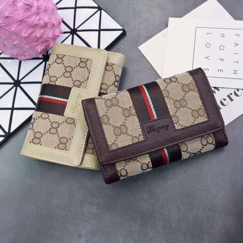 。2020新款女士大气钱包韩版短款钱夹三折大容量帆布折叠女式手包