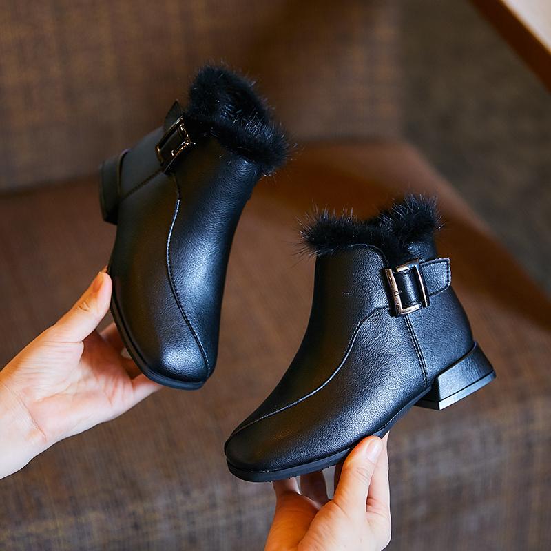 女童短靴2019冬季新款时尚儿童高跟加绒棉鞋公主靴皮雪地马丁靴子