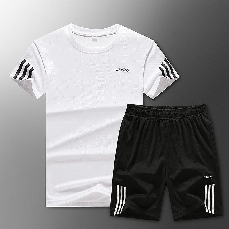 2020夏季新款男短袖休闲运动套装户外跑步宽松时尚百搭两件套大码