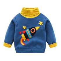 男童高领毛衣套头儿童加绒针织衫秋冬款加厚保暖宝宝打底毛线衫潮