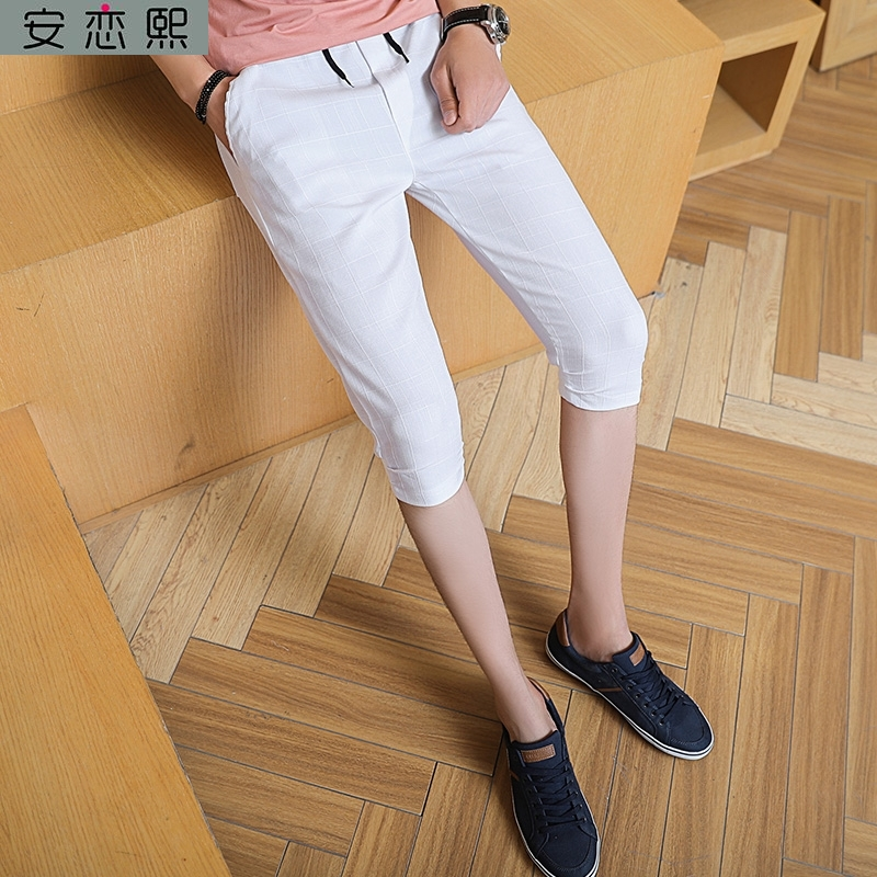 Summer Harajuku style shorts mens tugang style ins7 7-point legged ironless pants 8-point slim fit work nonmagnetic