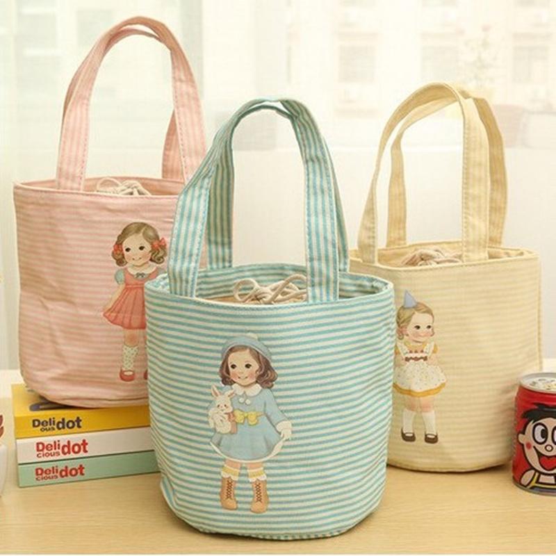 卡通手提保温饭盒袋学生带饭便当包束口圆形保温袋子饭盒包小拎包