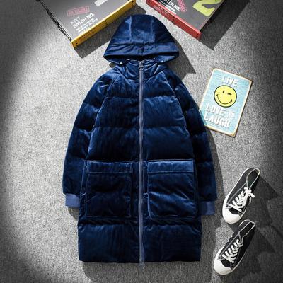 地毯平铺图丝绒中长款纯色连帽棉衣B297-603-P150