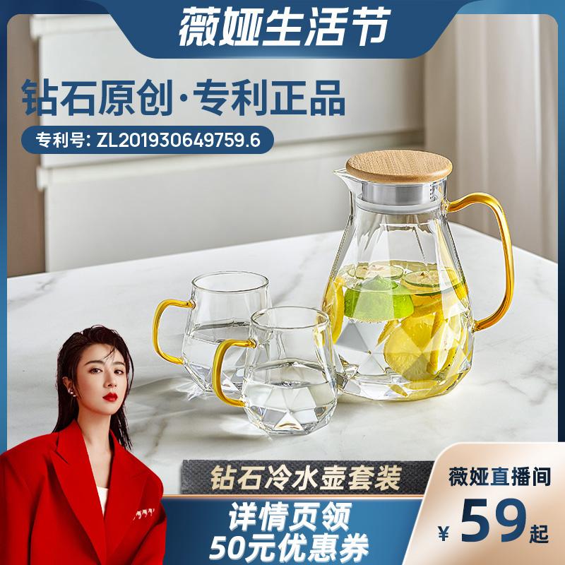 【薇娅推荐】FEENIK冷水壶玻璃水壶耐高温家用夏季冰箱凉水壶套装