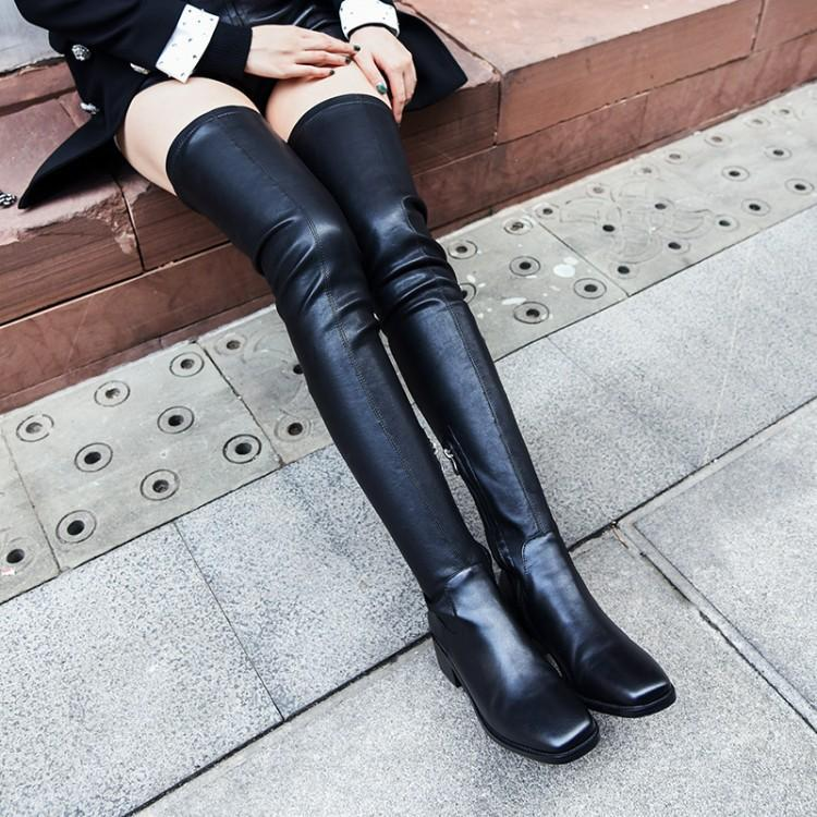 Spring and autumn single boots leather boots womens over knee 2020 new thigh boots leather top high tube boots thick heel thin elastic boots