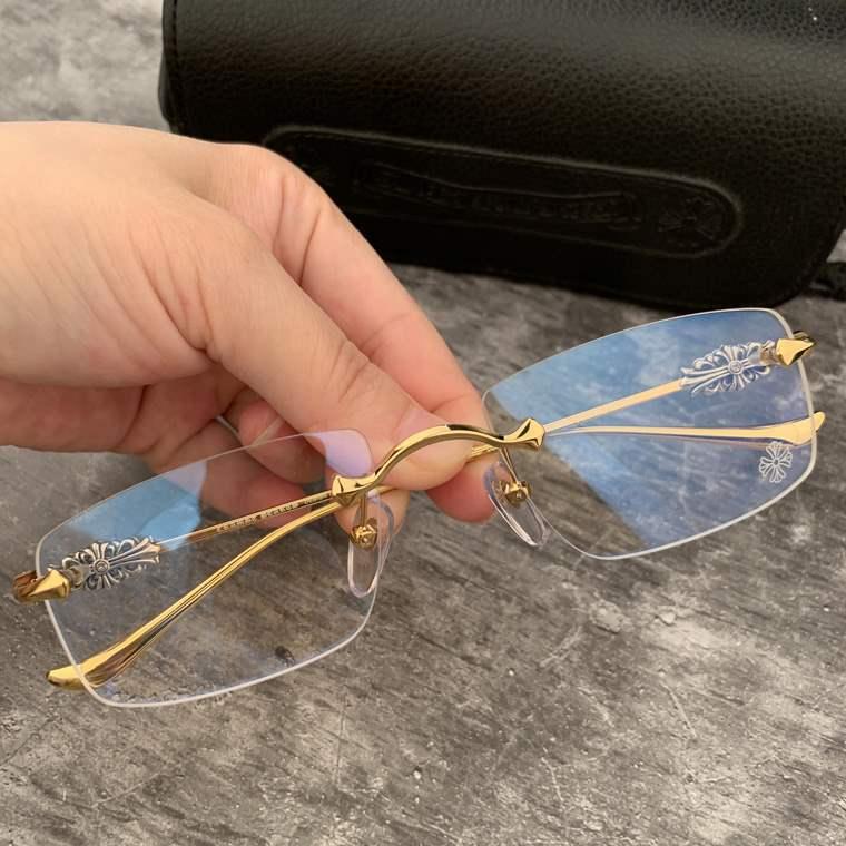 近视眼镜框打孔商务男女款无框时尚复古方形大框眼镜架