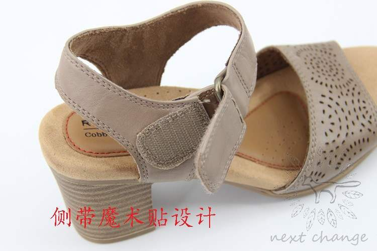 Size 37 womens shoes leather thick heels womens sandals top layer leather surface perforated high heels 7cm open toe summer mothers shoes