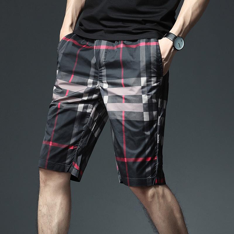 冰丝短裤男夏外穿2020新款超薄宽松五分裤男韩版潮流男士格子中裤