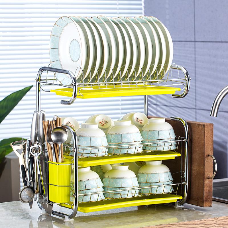 Kitchen shelf drip tray rack cupboard utensils storage rack bowl chopsticks put plate bowl shelf storage box