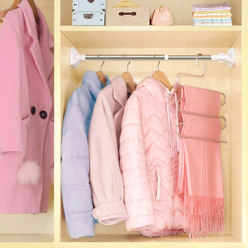 。隔斷洗手間簡易創意衣柜調節通用掛桿塑料臥室掛衣竿工具免打孔