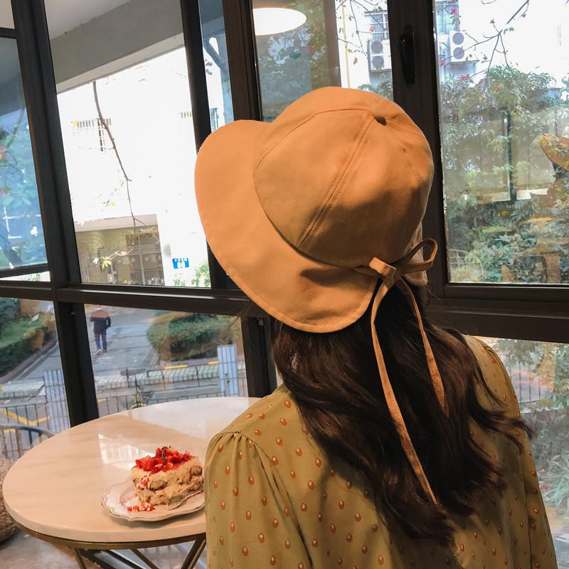 渔夫帽女韩版甜美软妹网红同款盆帽夏天棉麻蝴蝶结遮阳帽百搭帽子