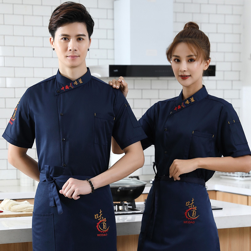Catering chef chef work clothes summer short sleeve bread hamburger West Point uniform cafeteria barbecue