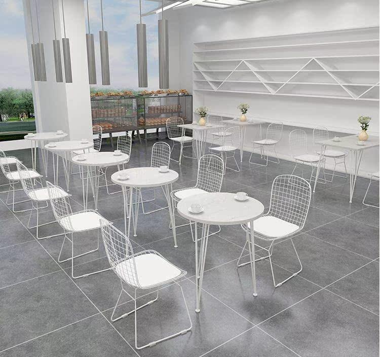 奶茶店咖啡厅桌椅组合北欧简约大理石餐饮甜品店桌椅休闲餐厅桌椅