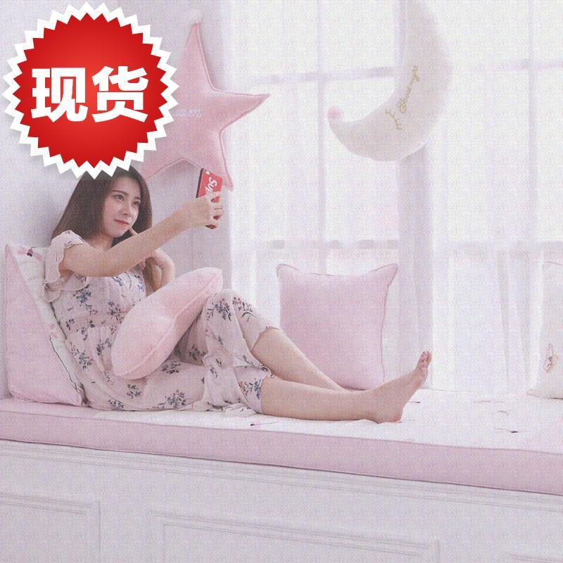 卧室跳窗垫主风 儿童房窗帘女孩卧室卡通飘窗垫定做卧室宝x宝粉色限8000张券