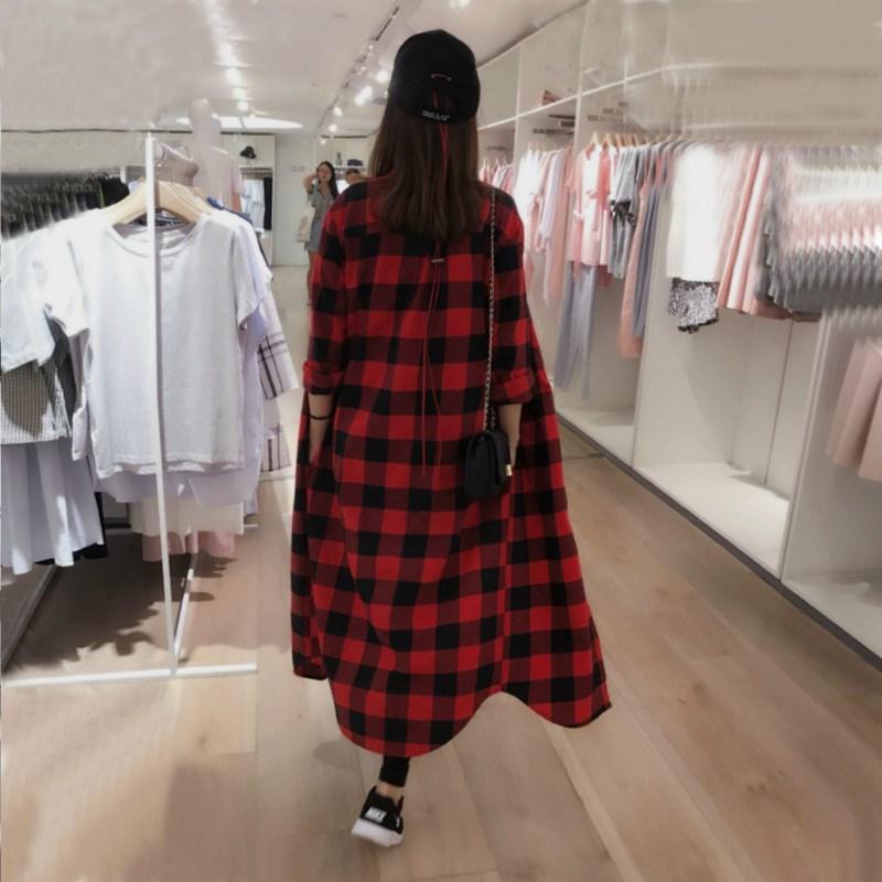 超长款格子衬衫女夏装设计感小众宽松休闲外套过膝长袖防晒衣服薄