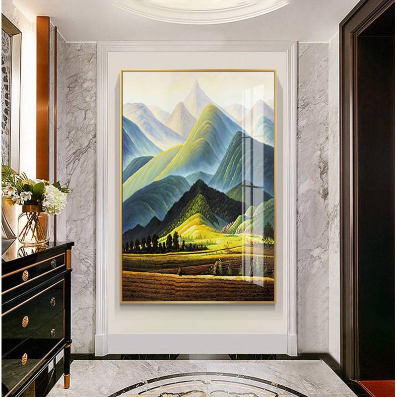 。巨人山世界名画玄关装饰画山川风景油画挂画艺术小幅走廊尽头壁