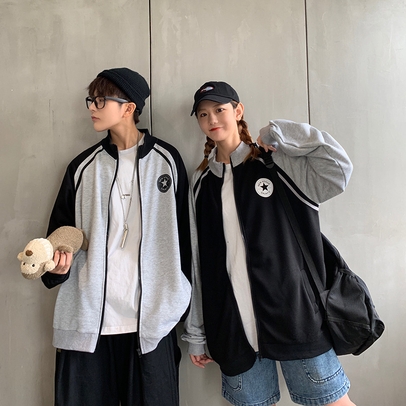Sports cardigan couple coat mens and womens trend loose Korean cool spring and autumn casual Baseball Jacket