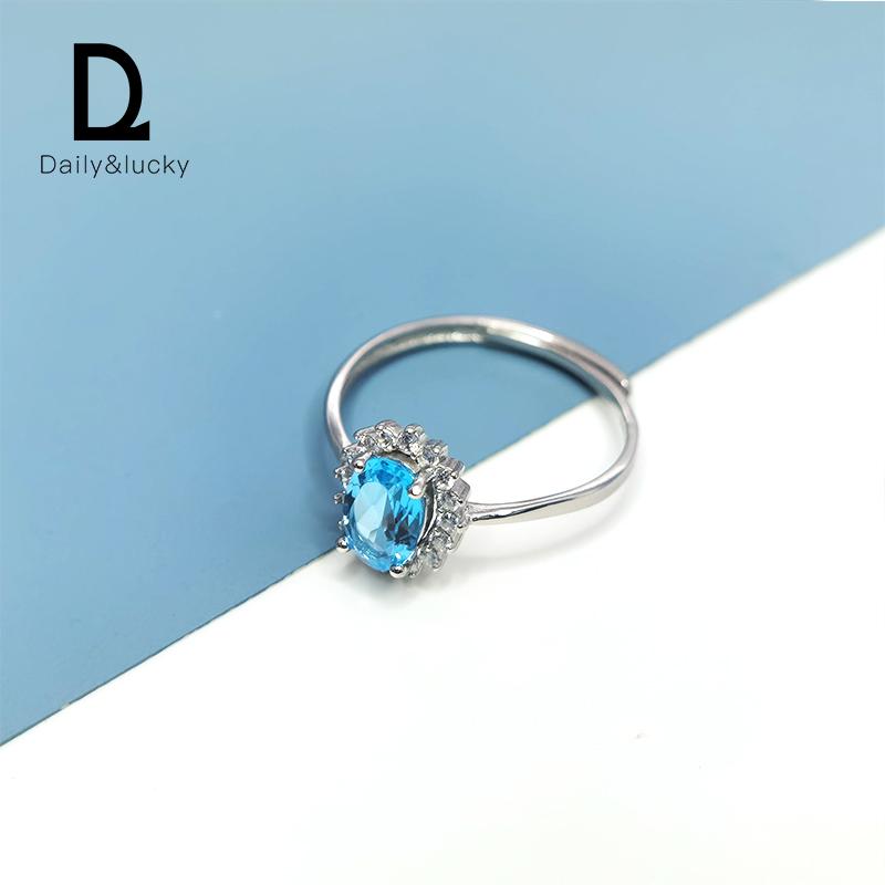 Daily&Lucky 瑞士蓝宝石天然托帕石戒指手饰纯银镶嵌闺蜜开口珠宝
